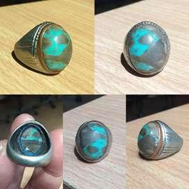 Batu pirus Persia biru motif natural