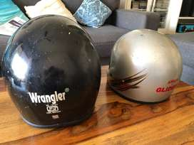 Two helmets - silver and balck