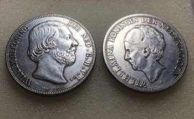 Koin Kuno Willem 1818 dan Wilhelmina 1919 3 Gulden tahun 1818 Langka