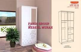 lemari pakaian model minimalis pintu 2 model full putih