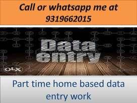 Home based job part time work data entry job