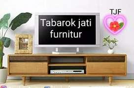 Meja tv retro moderen & elegan laci 2, P.150cm, bahan kayu jati asli