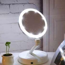 Lampu Cermin Pembesar Rias Dua sisi LED Lipat