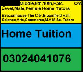 Female/Male Home Tutors available for all classes/subjects in all area
