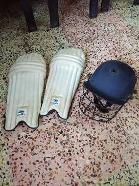 Cricket Pads and Helmet