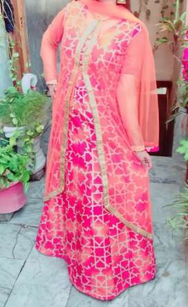 Indian maxi with net gown and dupatta