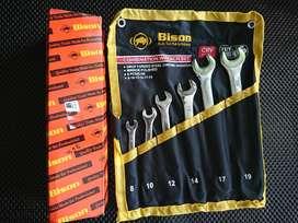 BISON Kunci Ring Pas Set 6 Pcs 8 mm - 19mm Kunci RingPas 11Pcs 8-19mm