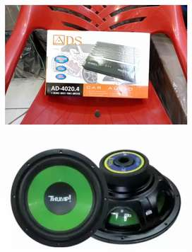 Power ads 4 channrl 25.000 w + Subwoofer Thump 12 in 600 w 2 koil