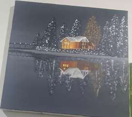 Arcylic painting/A beautiful snowy night painting for sale