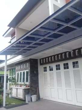 Kanopi atap bening transfaran polycarbonat,solartuuf,akrylik,kaca dll.