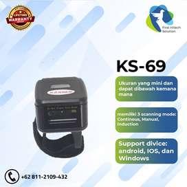 New Scanner Barcode bluetooth portable Kassen kS-69 Ring Cincin 2D