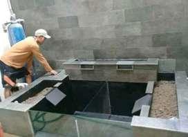 Kolam koi/kolam ikan hias bahan batu alam