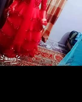Red maxi for valima & party wear