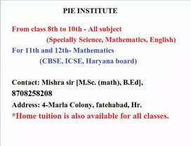 Pie institute; tuition for all classes