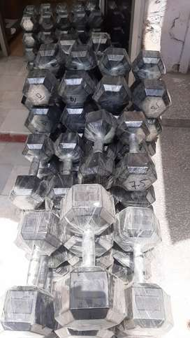 All types of dumbbells and gym equipments