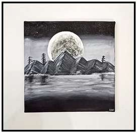 Beautiful Mountains and Moon Acrylic painting