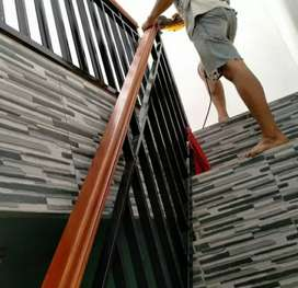 Balkon hand rail kayu dan reling tangga #3878
