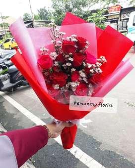 Buket Bunga Mawar Asli 10 Tangkai Kirim Se-Jawa Timur