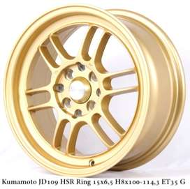 velg racing hsrKUMAMOTO JD109 HSR R15X65 H8X100-114,3 ET35 GOLD