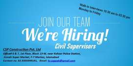 Post available for Civil Engineer & civil supervisor