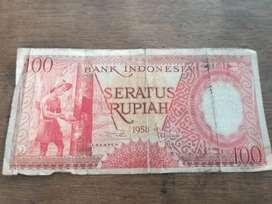 Ready uang kertas 100 rp tahun 1958