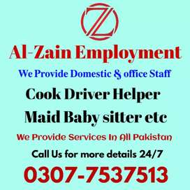 ZAIN BEST PROVIDEING AGENCY .COOK  DRIVERS MAIDS ETC .