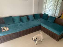 L shaped sofa set with storage
