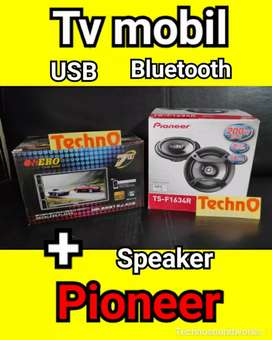Paket Sound Pioneer Speaker + Tv mobil USB Bluetooth doubledin tape