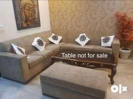 L-Shape Sagwan teak wood sofa 7 seater in good condition