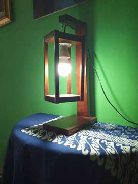Lampu meja kayu jati unik buatan tangan
