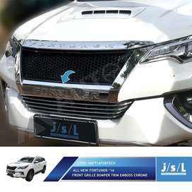 Front grill bumper trim emboss chrome all new FORTUNER 2016 s/d 2019