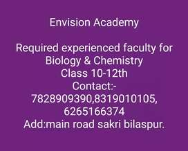 Required experienced teacher for biology and chemistry