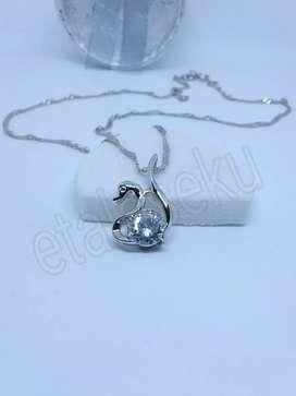 Kalung wanita perak silver white swan