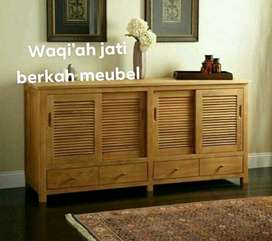 Bufet tv minimalis mewah pintu 4 sleden, P. 180cm, bahan kayu jati tua
