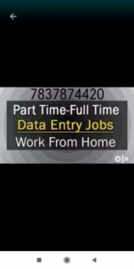 Use your free time in part time job data typing