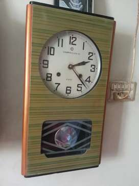 Antique brass wooden box wall clock pendulum