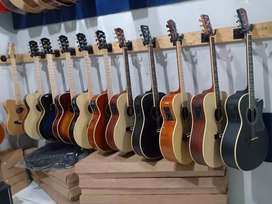 Gitar akustik elektrik serba kayu sungkai