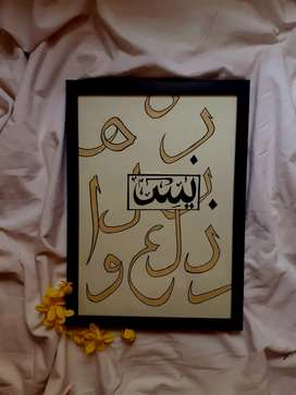 Glass painting, abstract paintings, calligraphy