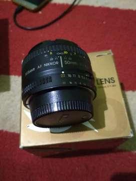 Lensa fix 50mm nikkor afd like new seperti baru mulus fullset box