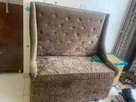 Sofa with storage with two cushions , stuff is pure valvet