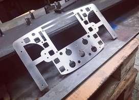 Dudukan mesin custom plat besi laser cutting