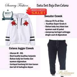 AM00624 Celana Setelan Satu set Sweater cewek dan celana joger