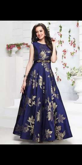 Tafetta silk navy blue gown