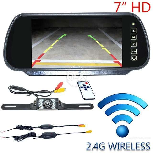 Auto Wireless Car Reverse RearView Mirror Camera Night Vision 7 LCD 0