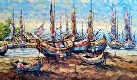 """Lukisan Pallet """" Perahu Nelayan"""""""