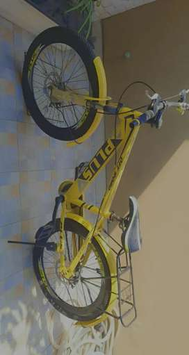 Bicycle in yellow colour off road