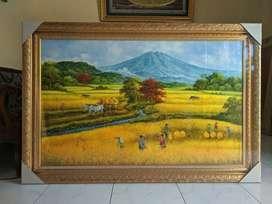 Lukisan alam pemandangan panen ukuran besar