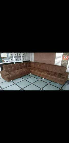 Brand new brown leather finish Sofa with Double Silay
