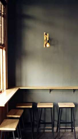 Meja kursi cafe, cafe angkringan, meja letter L, meja makan