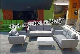 Sofa retro grey ready stok meja kayu